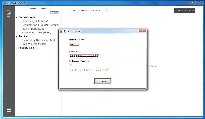 log in to Wattpad